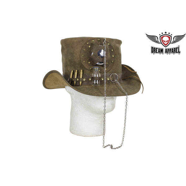 Brown Leather Medicine Man Deadman Top Hat - Club Vest Biker Motorcycle Apparel & Accessories