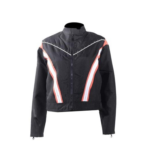 Women's Black Lightweight Racer Style Textile Jacket Orange/White Strips And Studs