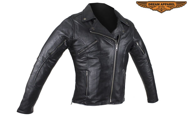 Women's Pleated Concealed Carry Leather Jacket