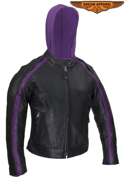 Women's Naked Cowhide Jacket with Purple Jacket Hoodie