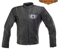Women Textile Motorcycle Jacket with Embroidered Skull and Wings