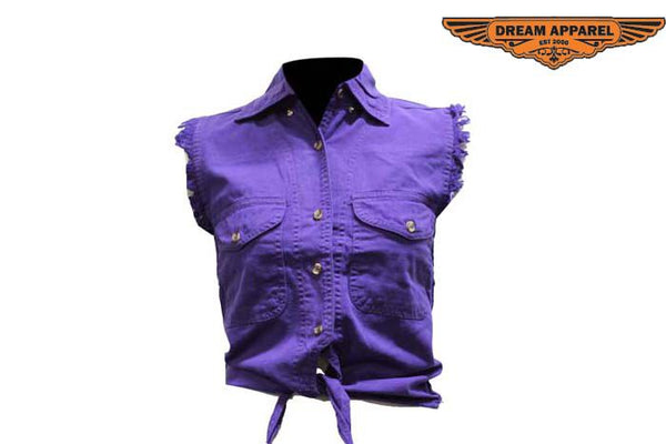 Women Purple Denim Sleeveless Shirt with Buttons
