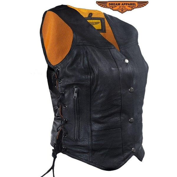 best-motorcyle-vest - Womens Naked Cowhide Leather Motorcycle Vest With 7 Pockets Dual Concealed Carry - Dream Apparel® - Womens Best Motorcycle Vests