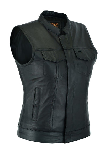 Ladies Motorcycle Leather CLUB VEST Butter Soft Thick Leather