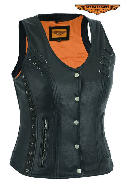 Women's Premium Naked Goat Skin Concealed Carry Motorcycle Vest