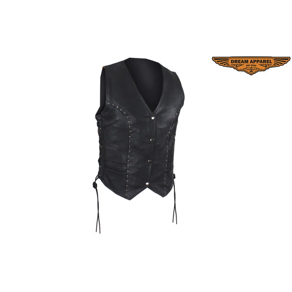 Womens Soft Naked Cowhide Leather Motorcycle Studded Vest With Dual CCW