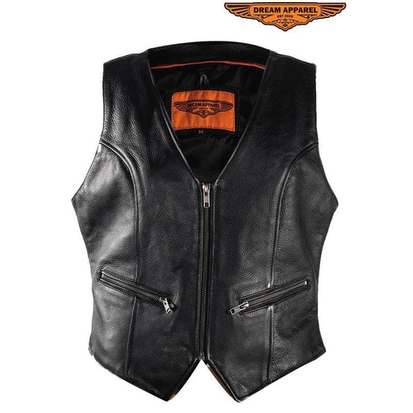 best-motorcyle-vest - Womens Zip Up Naked Cowhide Leather Vest With Dual Concealed Carry - Dream Apparel® - Womens Best Motorcycle Vests