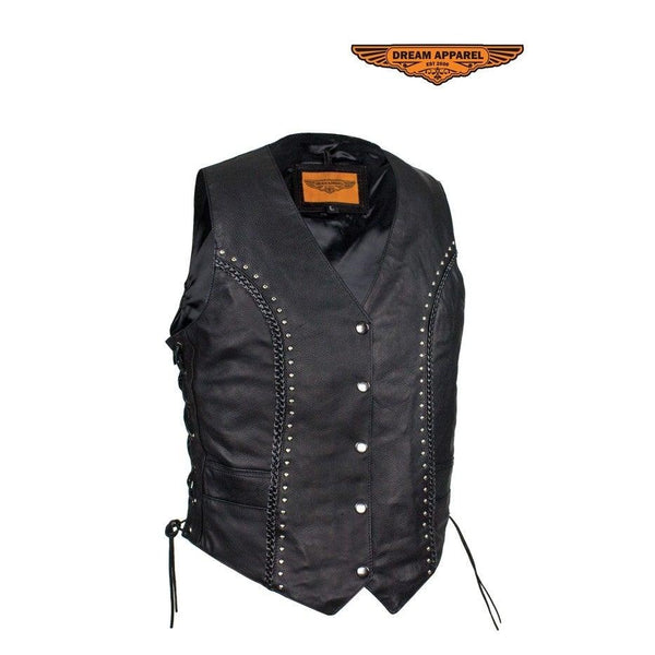 Womens Studded Naked Cowhide Leather Motorcycle Vest W/ Concealed Carry