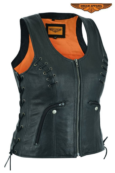 Women's Lamb Skin Vest with Side Laces Dual Concealed Carry