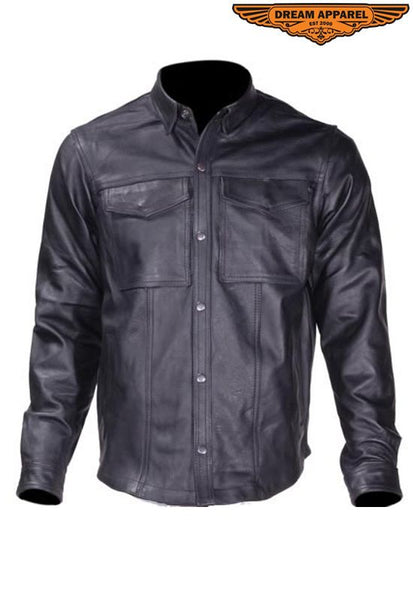 Men's Split Leather Shirt With Snap On Cuffs