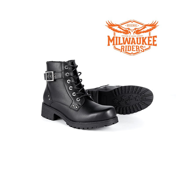 Ladies Black 6-Eye Motorcycle Boots W/ Zipper by Milwaukee Riders ® - Club Vest Biker Motorcycle Apparel & Accessories