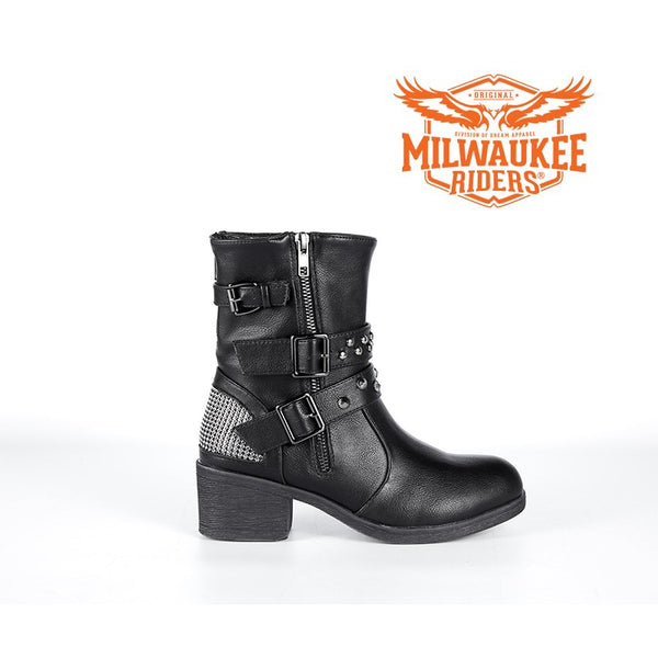 Ladies Zippered Black Multi-Studded Buckle Boots By Milwaukee Riders® - Club Vest Biker Motorcycle Apparel & Accessories