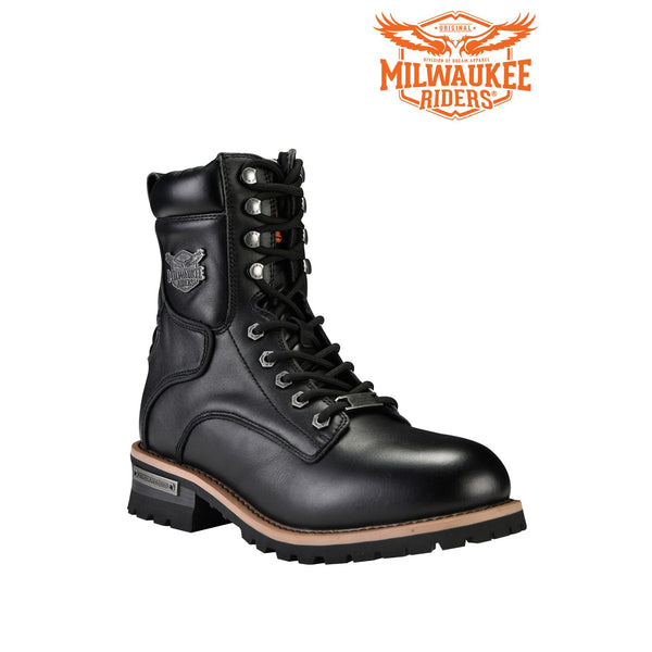 best-motorcyle-vest - Men's Zipper And Lace-Up Leather Motorcycle Boots By Milwaukee Riders® - Club Vest Biker Motorcycle Apparel & Accessories - Motorcycle Boots