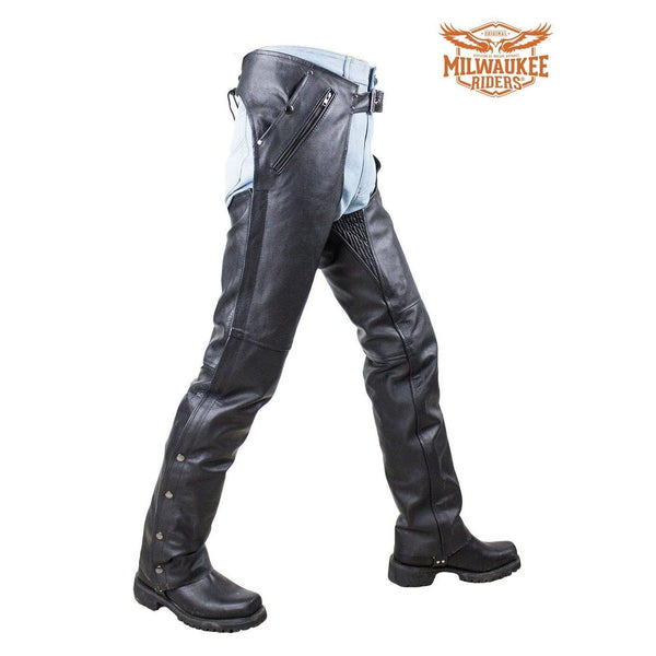 Black Multi Pocket Naked Cowhide Leather Motorcycle Chaps By Milwaukee Riders - Club Vest Biker Motorcycle Apparel & Accessories