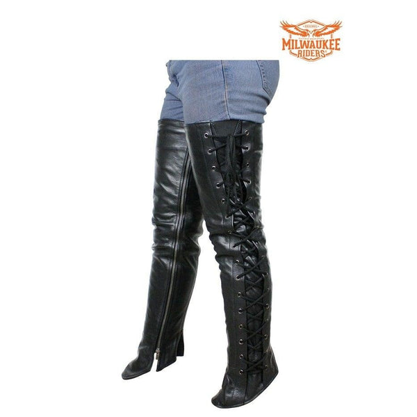 best-motorcyle-vest - Milwaukee Riders Ladies Naked Cowhide Leather Laced Motorcycle Leggings - Milwaukee Riders® - motorcycle chaps