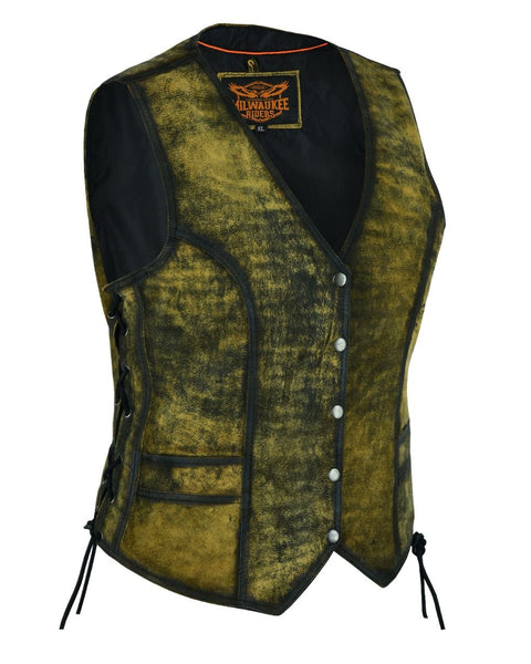 Milwaukee Riders Rub-Off Brown Leather Vest No-Braid