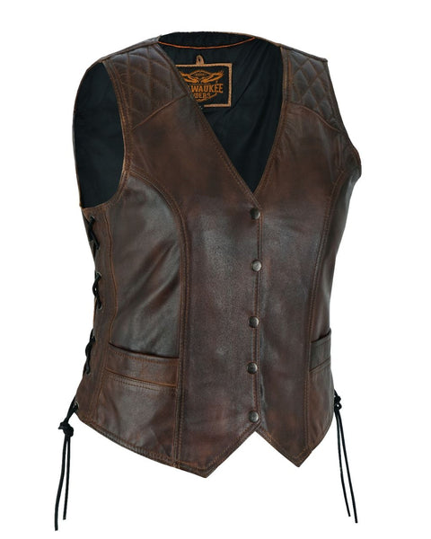 Milwaukee Riders Premium Cowhide Brown Vest with Diamond Design
