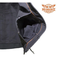best-motorcyle-vest - Womens Cowhide Leather Motorcycle CCW Vest With 7 Pockets By Milwaukee Riders® - Milwaukee Riders® - Womens Best Motorcycle Vests