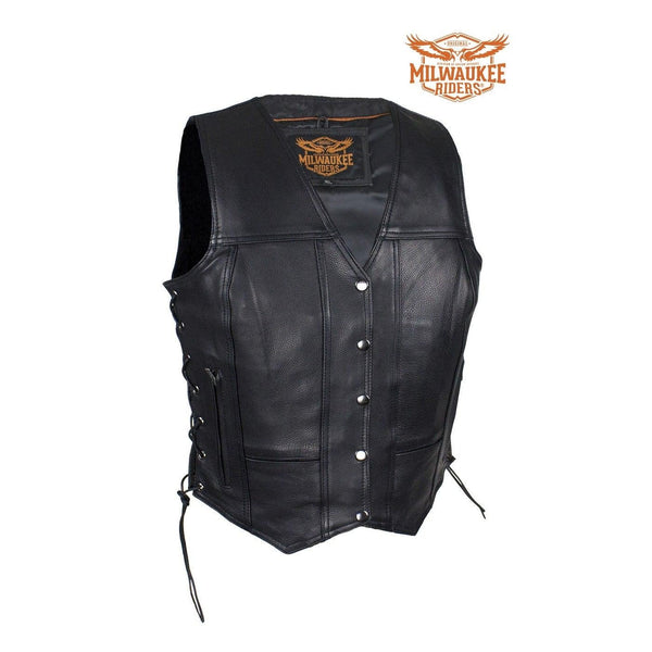 Womens Cowhide Leather Motorcycle CCW Vest With 7 Pockets By Milwaukee Riders®