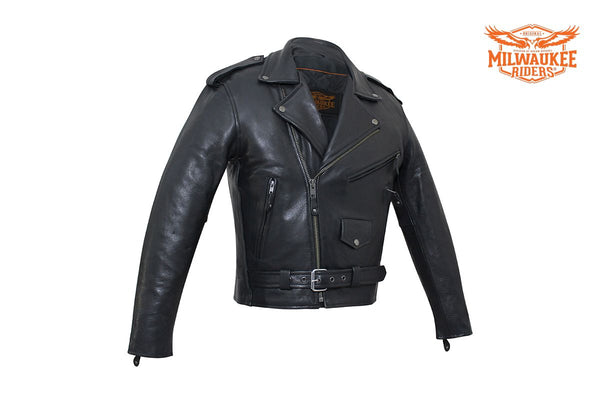 Mens MC Jacket Naked Cowhide Leather by Milwaukee Riders