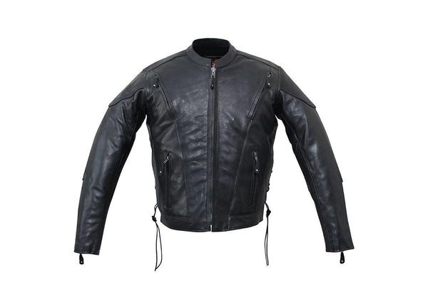 Milwaukee Riders Mens Racer Leather Motorcycle Jacket Dual CCW