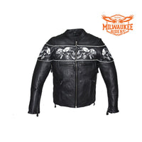 Men's Leather Concealed Carry Racing Jacket W/ Reflective Skulls By Milwaukee Riders