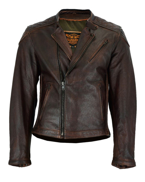 Milwaukee Riders Vintage Motorcycle Jacket Naked Cowhide Leather Front Zipper