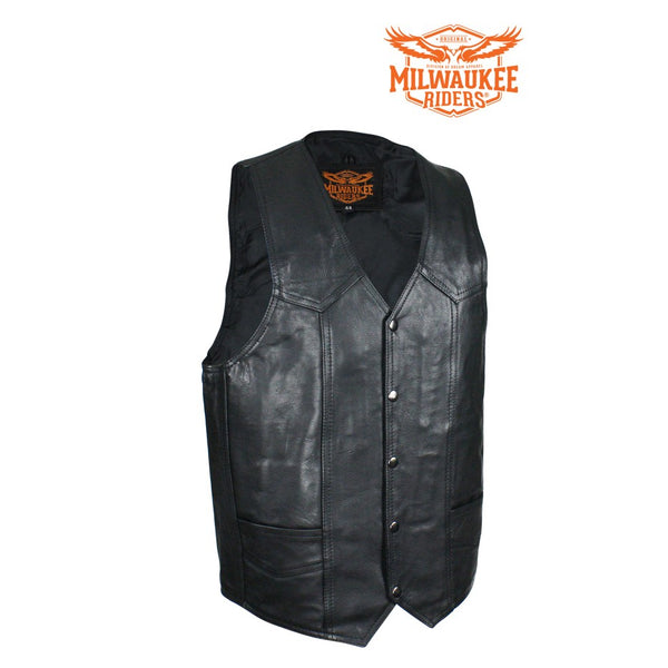 Men's Plain Black Naked Cowhide Leather Vest By Milwaukee Riders®