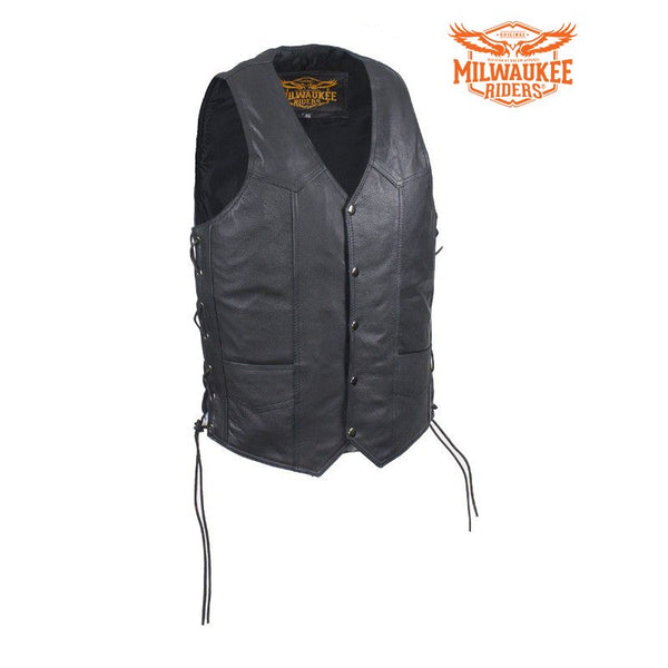 Mens Leather Vest With Concealed Carry On Both Sides By Milwaukee Riders®