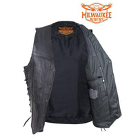 Mens Premuim Leather Vest With Dual Concealed Carry Pockets By Milwaukee Riders®