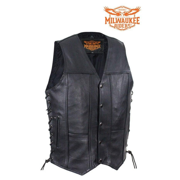 best-motorcyle-vest - Mens Premuim Leather Vest With Dual Concealed Carry Pockets By Milwaukee Riders® - Milwaukee Riders® - Mens Best Motorcycle Vests