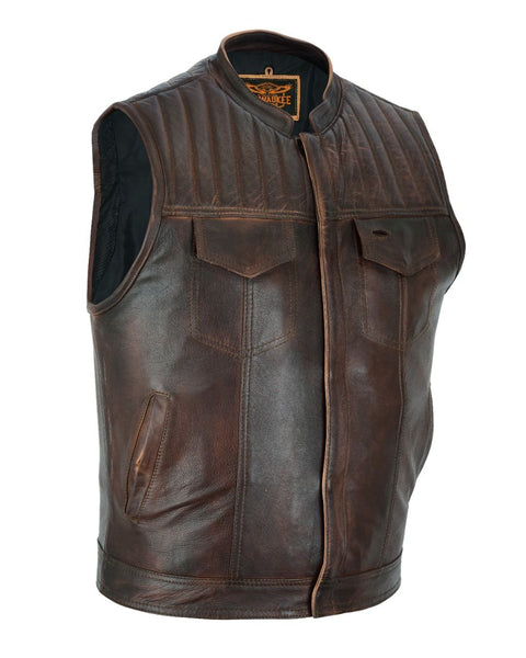 Mens Distress Brown Motorcycle Club Vest Premium Naked Leather Quilting