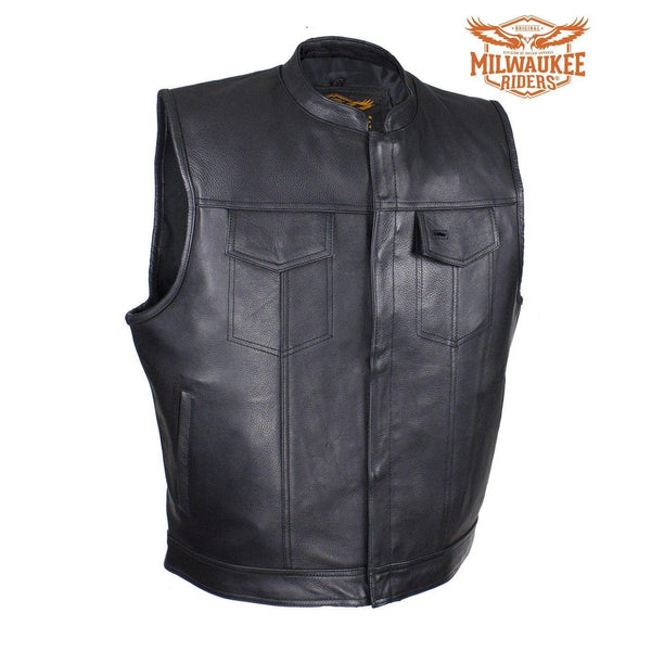 Mens Naked Cowhide Dual Concealed Carry Motorcycle Vest By Milwaukee Riders®
