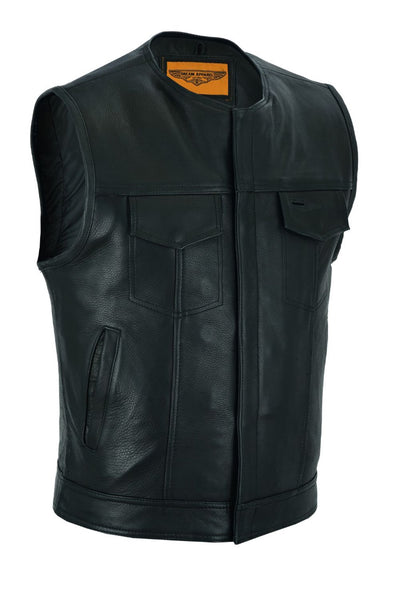 Mens Motorcycle Collarless CLUB VEST with Black Liner & Zipper Front Closure