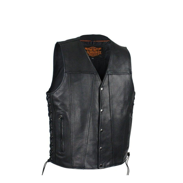 best-motorcyle-vest - Mens Leather Vest With Dual Concealed CCW Pockets By Milwaukee Riders® - Milwaukee Riders® - Mens Best Motorcycle Vests