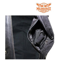 Naked Cowhide Leather No Collar MCVest CCW Pockets By Milwaukee Riders®