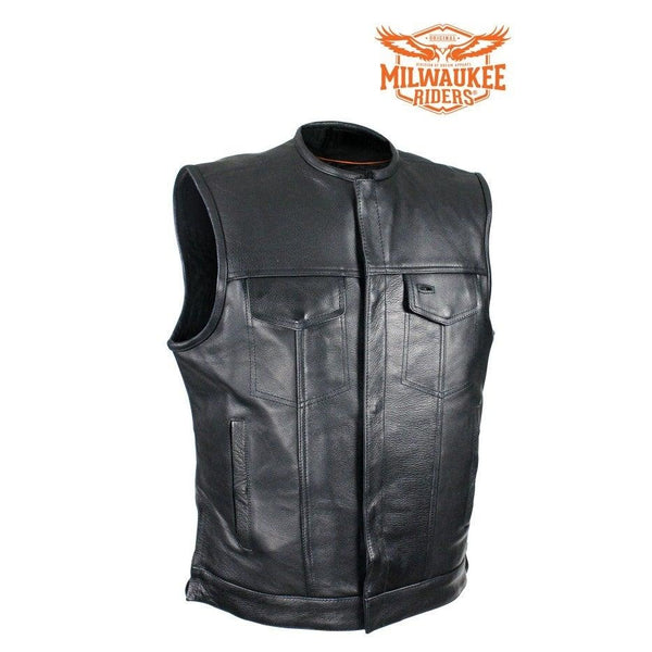best-motorcyle-vest - Naked Cowhide Leather No Collar MCVest CCW Pockets By Milwaukee Riders® - Milwaukee Riders® - Mens Best Motorcycle Vests