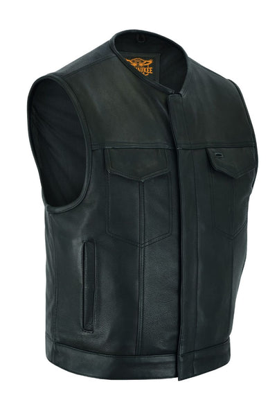 Milwaukee Riders Low Cut Neck Line Mens Leather Motorcycle Club Vest