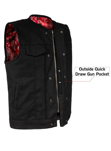 Mens Black Canvas CLUB VEST with Red Paisley Lining Zipper & snaps quick draw