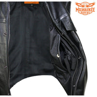 Men's Leather Gun Pocket Vest with Side Laces By Milwaukee Riders