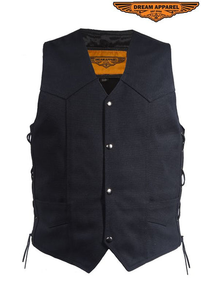 Mens Black Canvas Motorcycle Vest CCW
