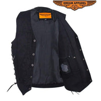 best-motorcyle-vest - Men's Black Denim Motorcycle Vest with Concealed Carry Pockets - Dream Apparel® - Mens Best Motorcycle Vests