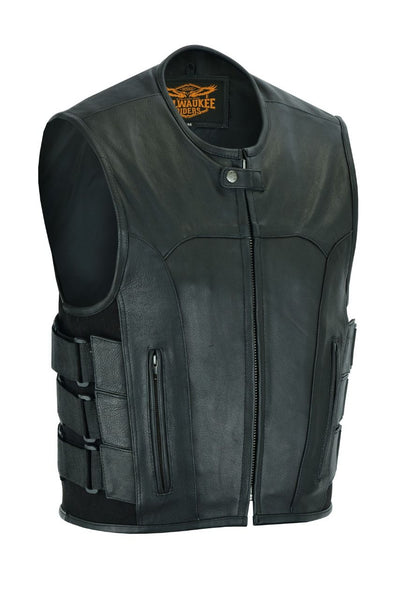 Men's Black Leather Bullet Proof Style Vest