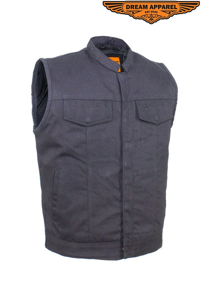 best-motorcyle-vest - Mens Black Denim Motorcycle Vest With Zipper & Button Snap Front Closure - Club Vest Biker Motorcycle Apparel & Accessories - Mens Best Motorcycle Vests
