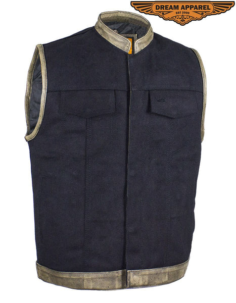 Black Canvas Motorcycle Vest with Distressed Brown Leather Trim
