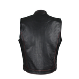 best-motorcyle-vest - Club Vest® Men's Black Naked Cowhide Leather Motorcycle Vest W/ Red Stitching - Club Vest Biker Motorcycle Apparel & Accessories - Mens Best Motorcycle Vests