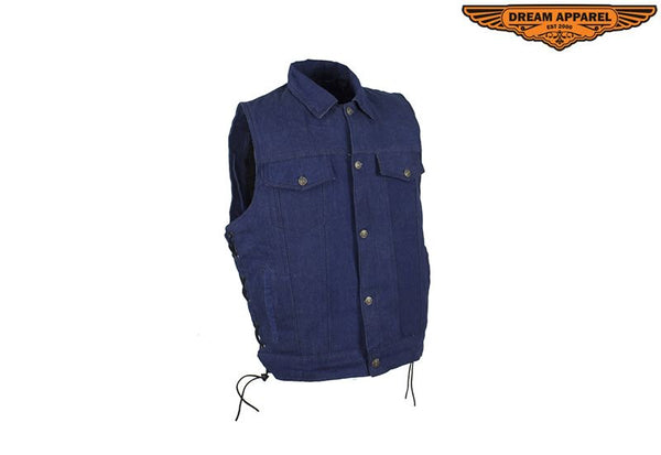 Men's Blue Denim Concealed Carry Vest with side laces button up front