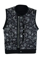Black Motorcycle Canvas CLUB VEST with Front Zipper Paisley Lining Conseal Pockets