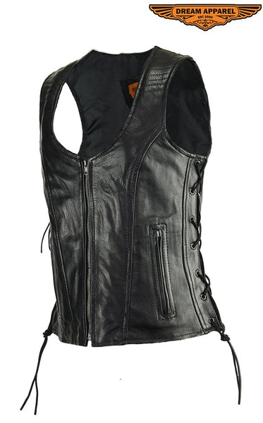 Women's Motorcycle Black Naked Cowhide Leather Vest