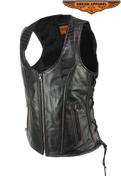 Women's Naked Cowhide Black w/ Pink Stitching Motorcycle Leather vest